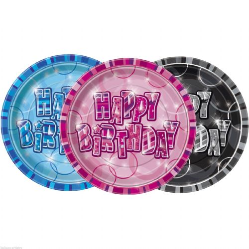 Glitz Blue Plates - Happy Birthday